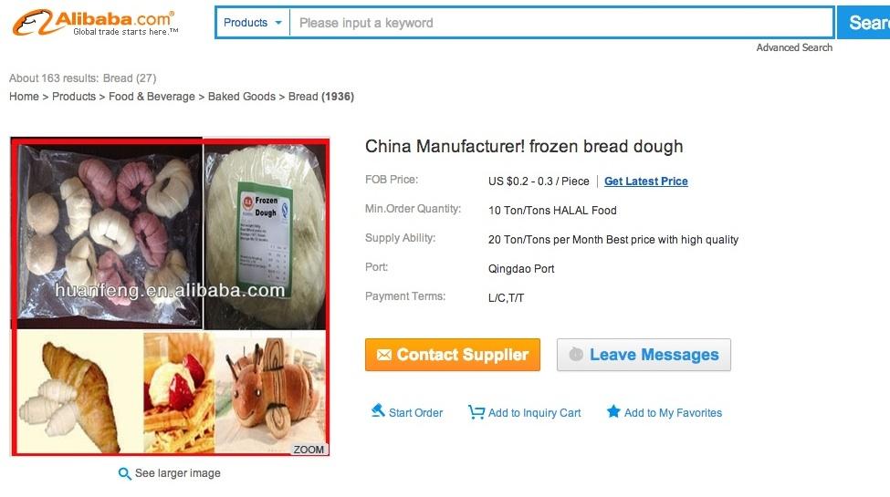 Verräterisch: wer billige Teiglinge braucht, kann sie auf alibaba.com auswählen. China garantiert mit niedrigsten Preisen für höchste Profite.