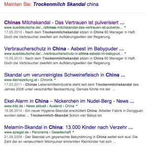 Google-Treffer auf Suchanfrage 'Trockenmilch Skandal China'. Unfassbar. Und jetzt wird dort auch noch Brot für Europa gebacken.
